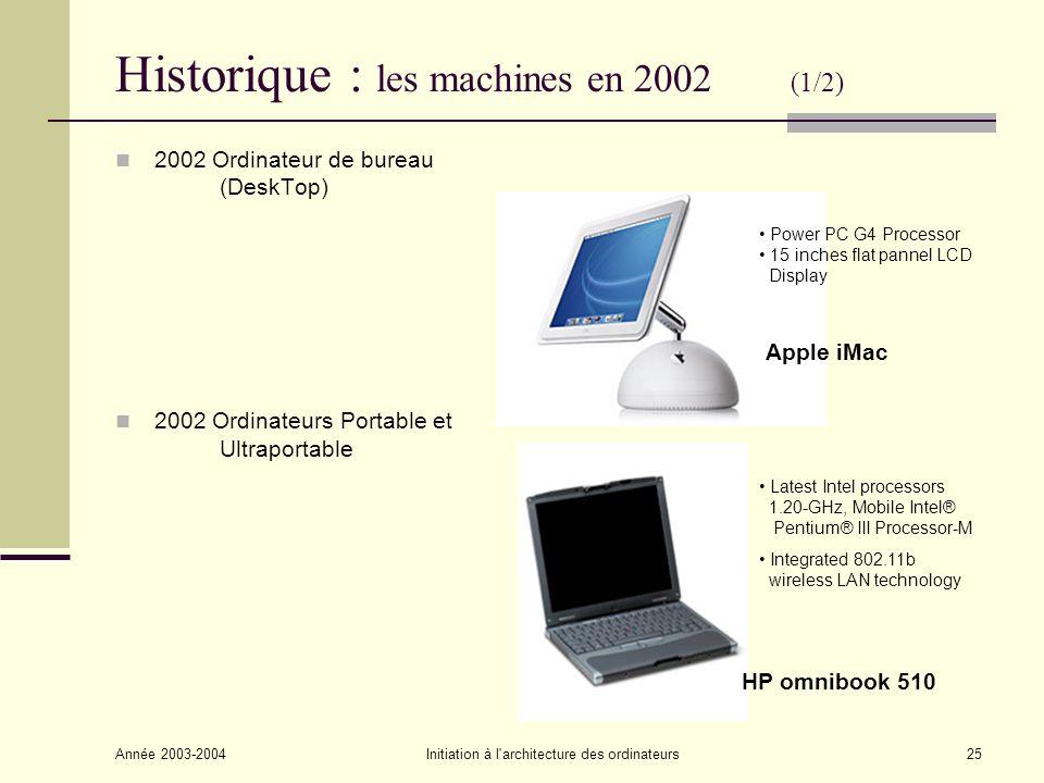 Historique : les machines en 2002 (1/2)