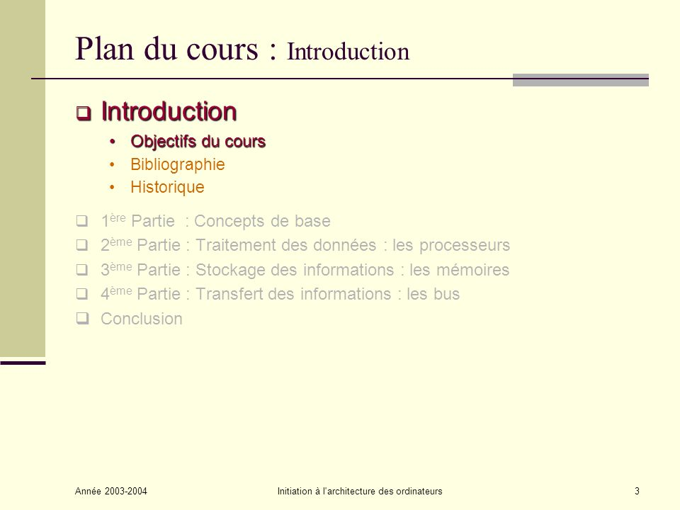 Plan du cours : Introduction