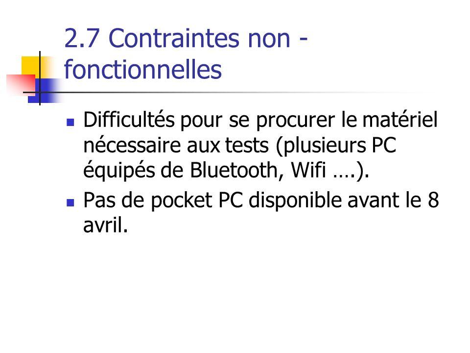 2.7 Contraintes non - fonctionnelles