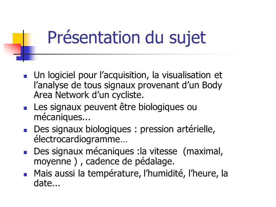 Présentation du sujet Un logiciel pour l'acquisition, la visualisation et l'analyse de tous signaux provenant d'un Body Area Network d'un cycliste.