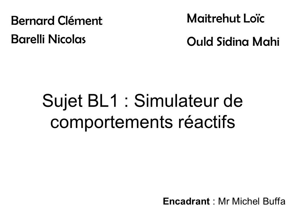 Sujet BL1 : Simulateur de comportements réactifs