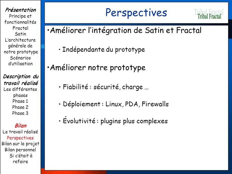 Perspectives Améliorer l'intégration de Satin et Fractal