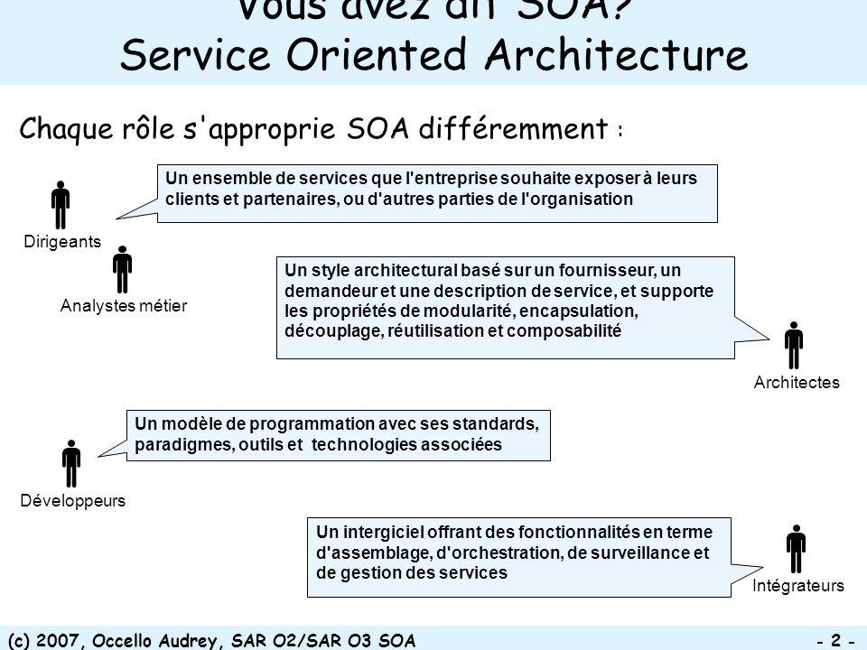 Vous avez dit SOA Service Oriented Architecture