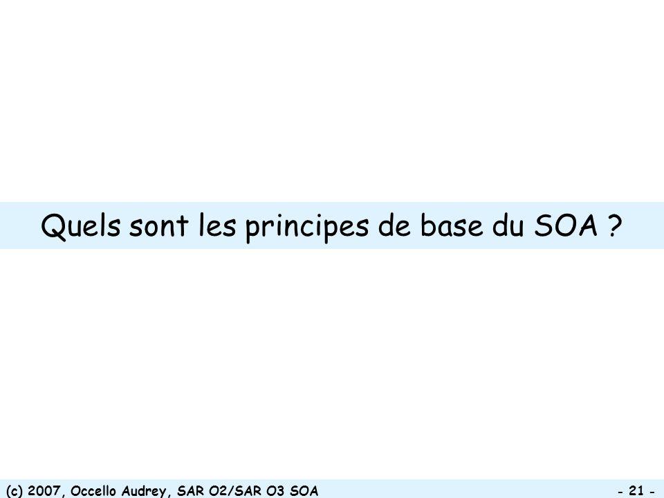 Quels sont les principes de base du SOA