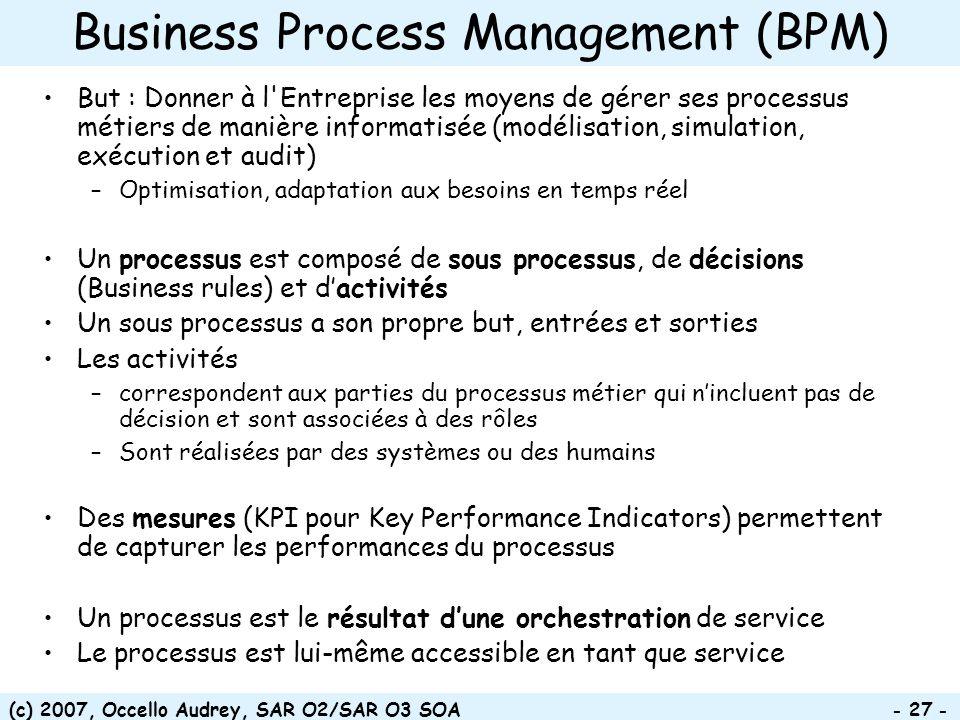 Business Process Management (BPM)‏