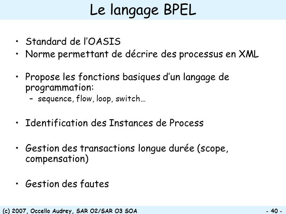 Le langage BPEL Standard de l'OASIS