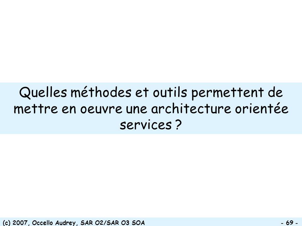 Quelles méthodes et outils permettent de mettre en oeuvre une architecture orientée services