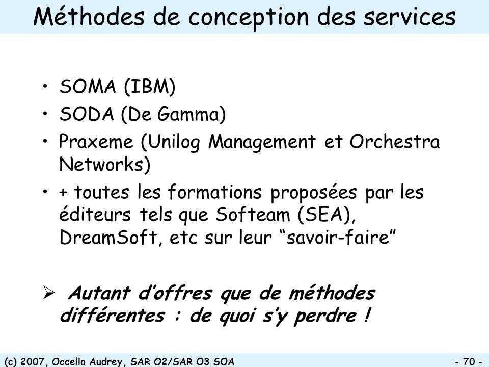 Méthodes de conception des services