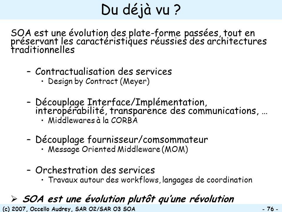 Du déjà vu SOA est une évolution des plate-forme passées, tout en préservant les caractéristiques réussies des architectures traditionnelles.