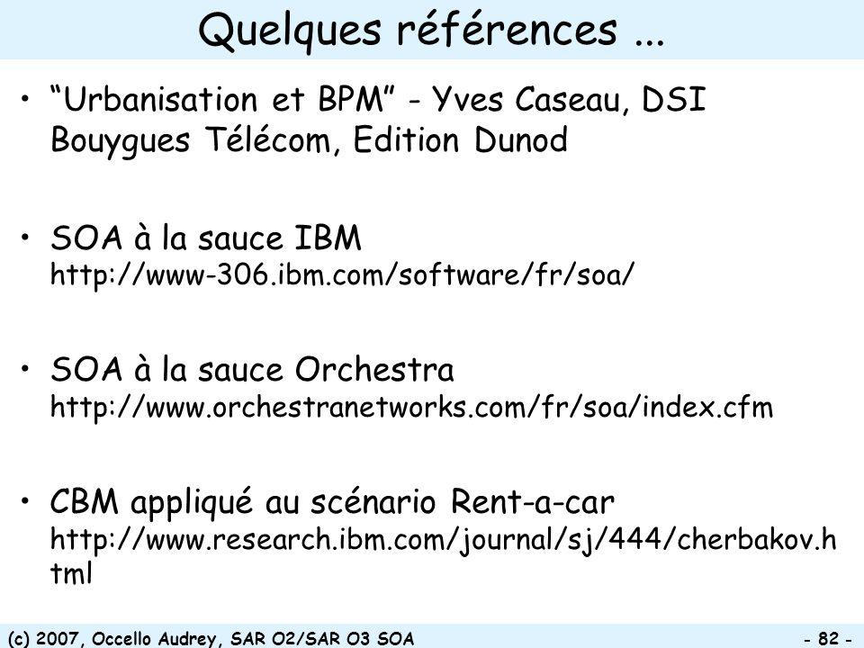 Quelques références ... Urbanisation et BPM - Yves Caseau, DSI Bouygues Télécom, Edition Dunod.