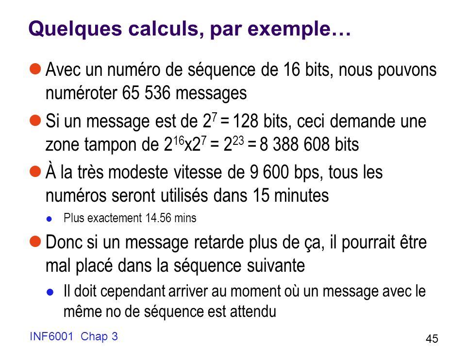Quelques calculs, par exemple…