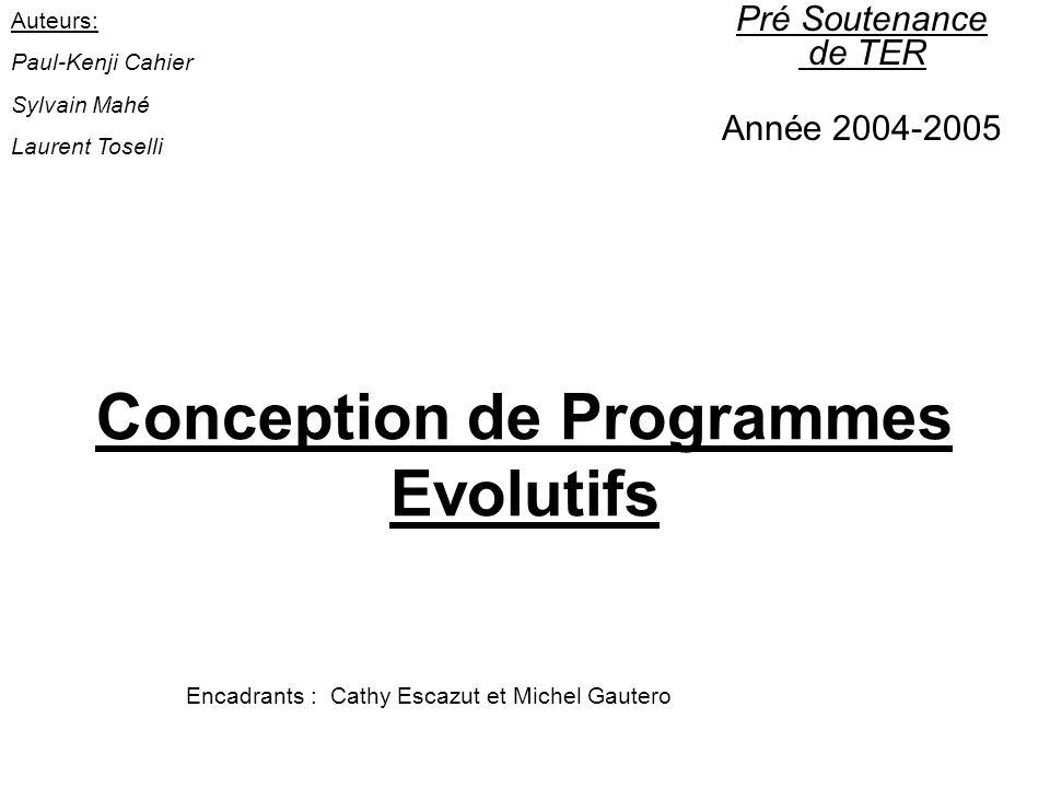 Conception de Programmes Evolutifs