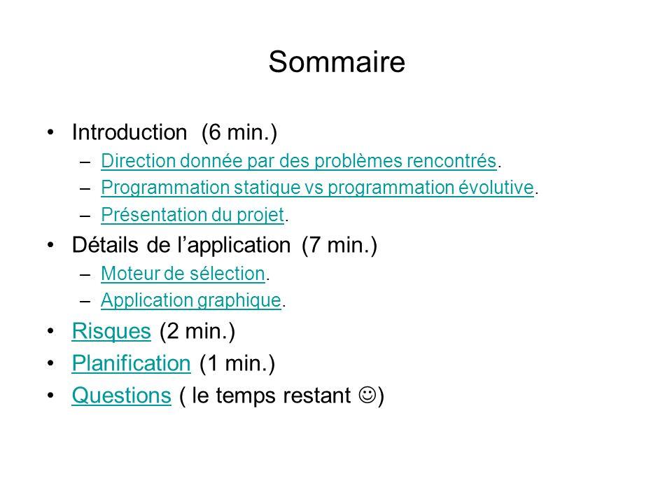 Sommaire Introduction (6 min.) Détails de l'application (7 min.)