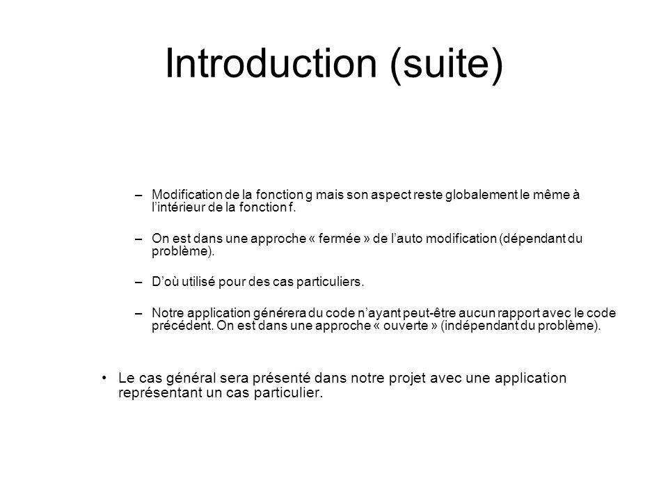 Introduction (suite) Modification de la fonction g mais son aspect reste globalement le même à l'intérieur de la fonction f.