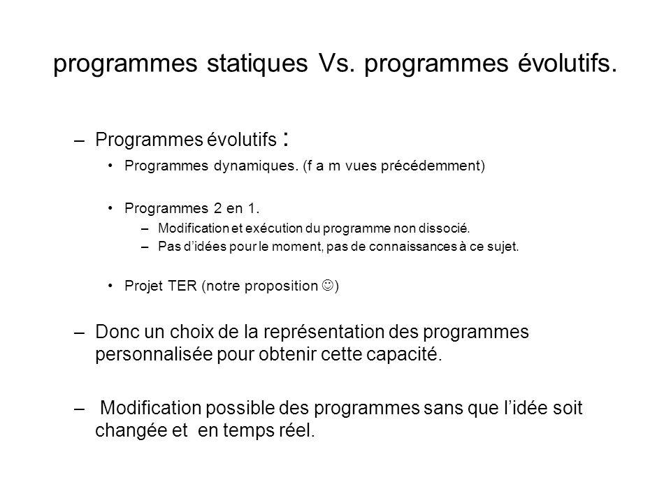 programmes statiques Vs. programmes évolutifs.