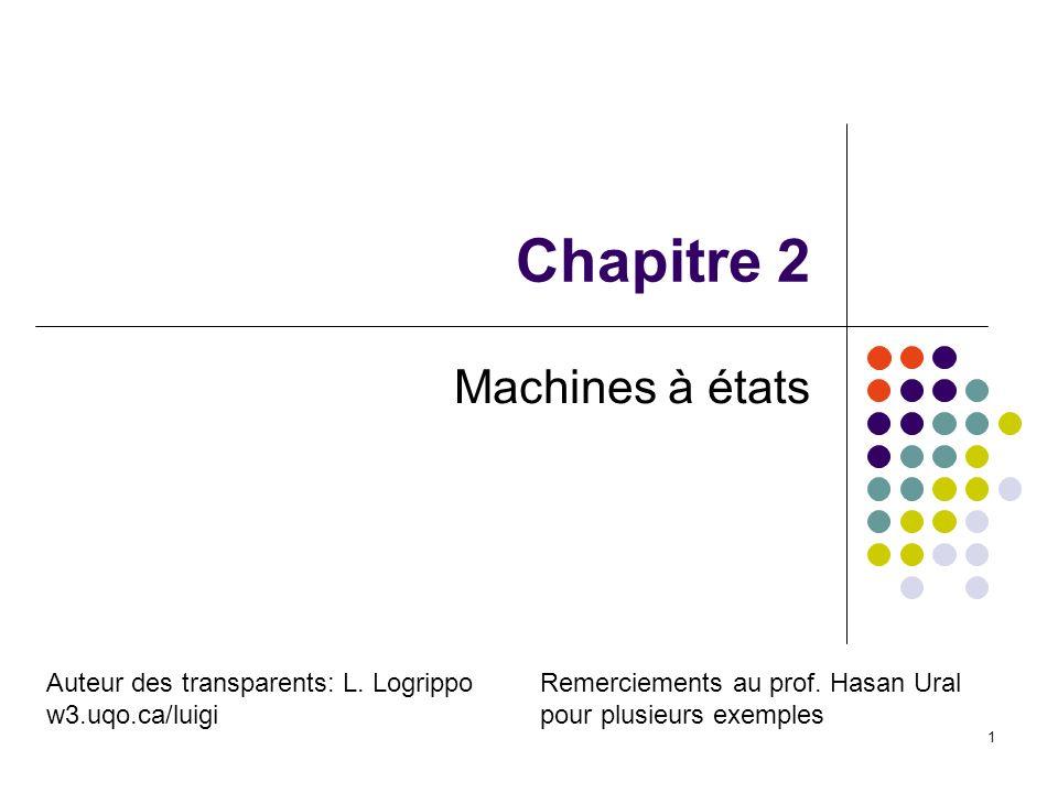 Chapitre 2 Machines à états Auteur des transparents: L. Logrippo