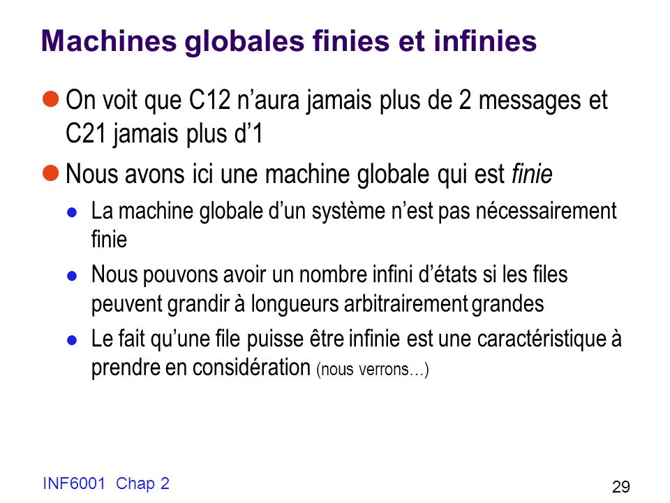 Machines globales finies et infinies