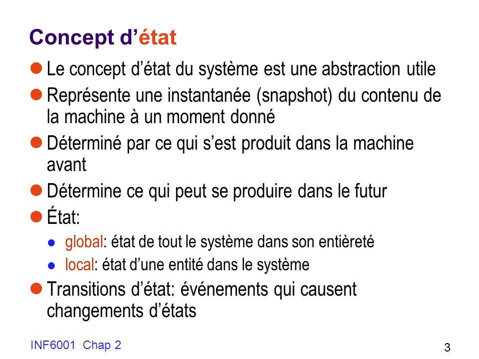 Concept d'état Le concept d'état du système est une abstraction utile
