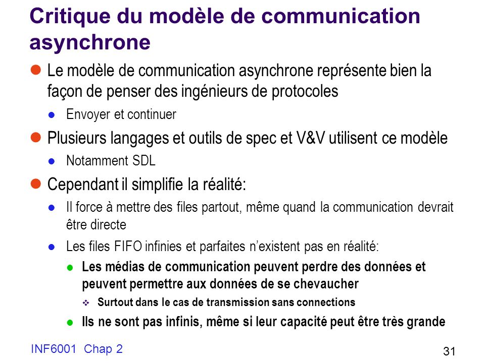 Critique du modèle de communication asynchrone