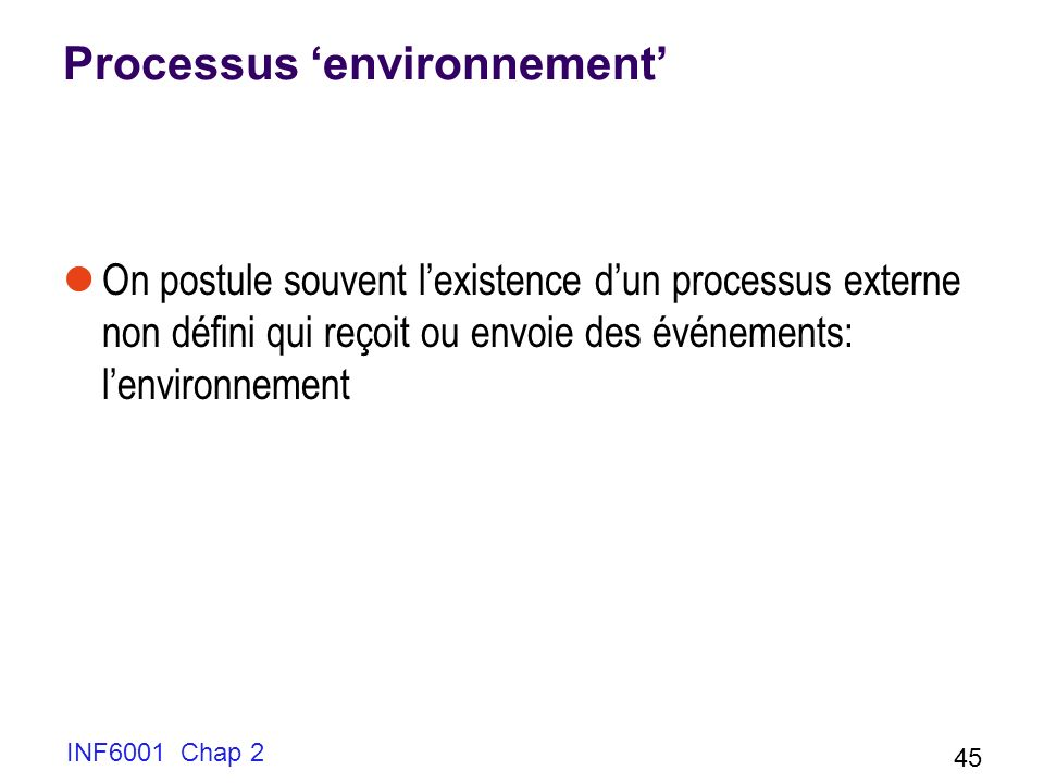 Processus 'environnement'