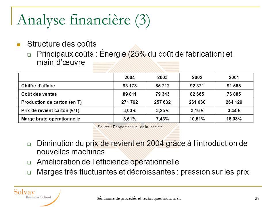 Analyse financière (3) Structure des coûts