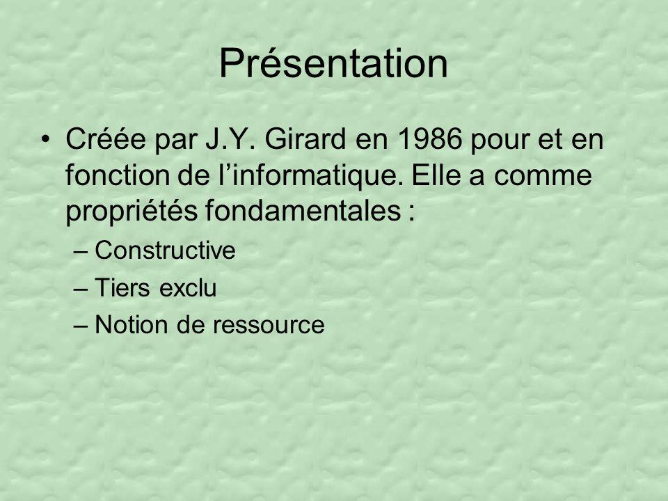 Présentation Créée par J.Y. Girard en 1986 pour et en fonction de l'informatique. Elle a comme propriétés fondamentales :