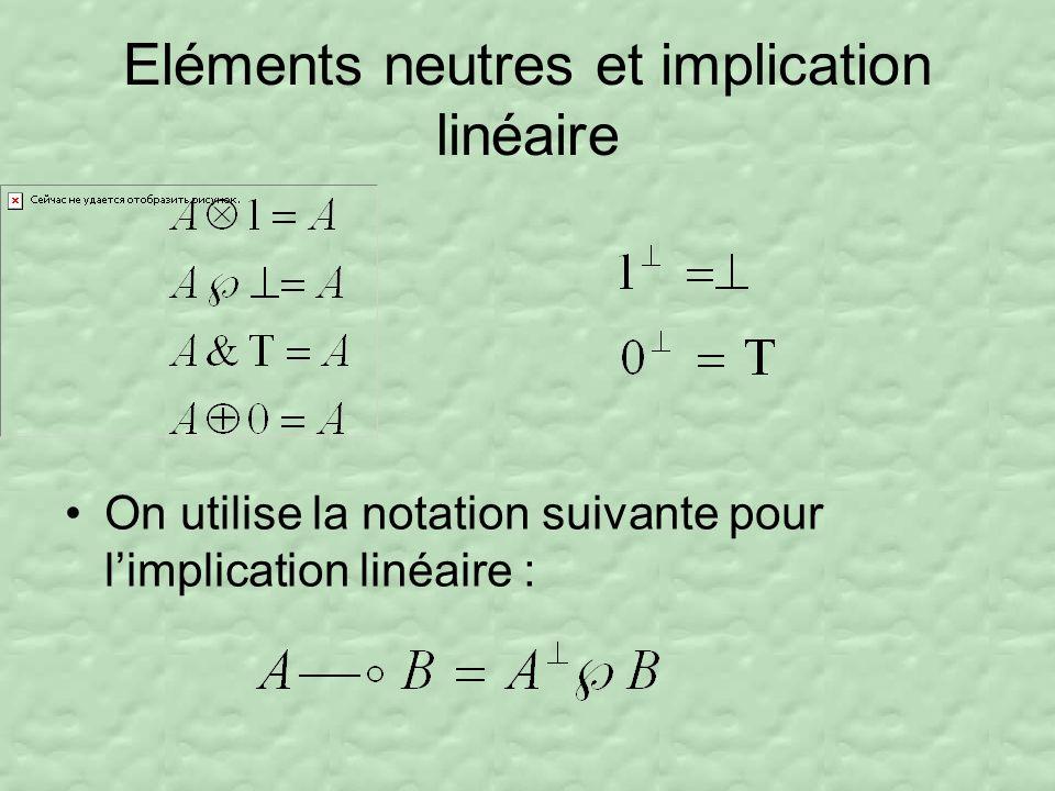 Eléments neutres et implication linéaire