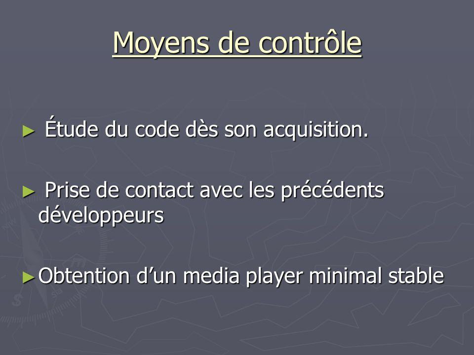 Moyens de contrôle Étude du code dès son acquisition.