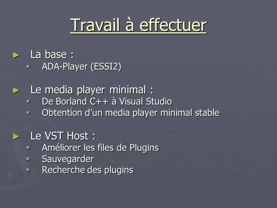 Travail à effectuer La base : Le media player minimal : Le VST Host :