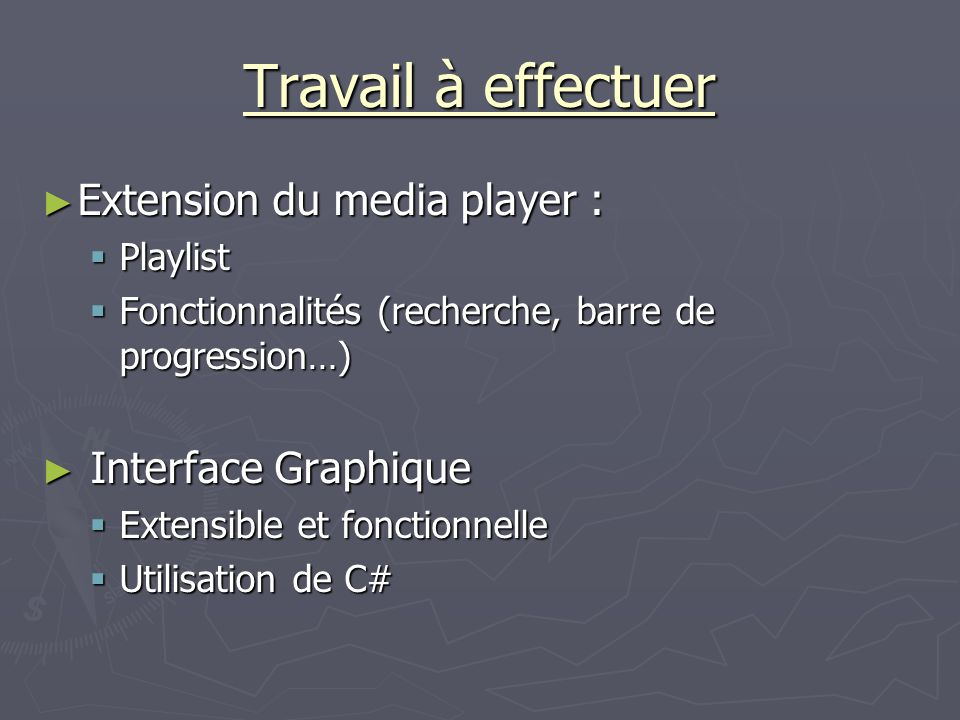 Travail à effectuer Extension du media player : Interface Graphique