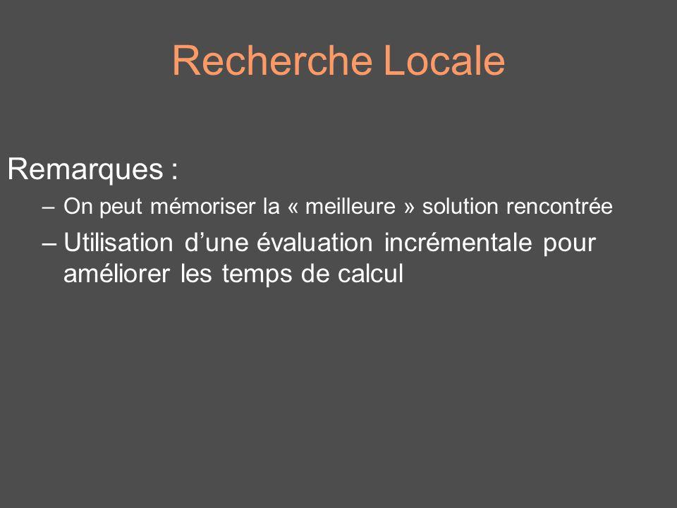 Recherche Locale Remarques :