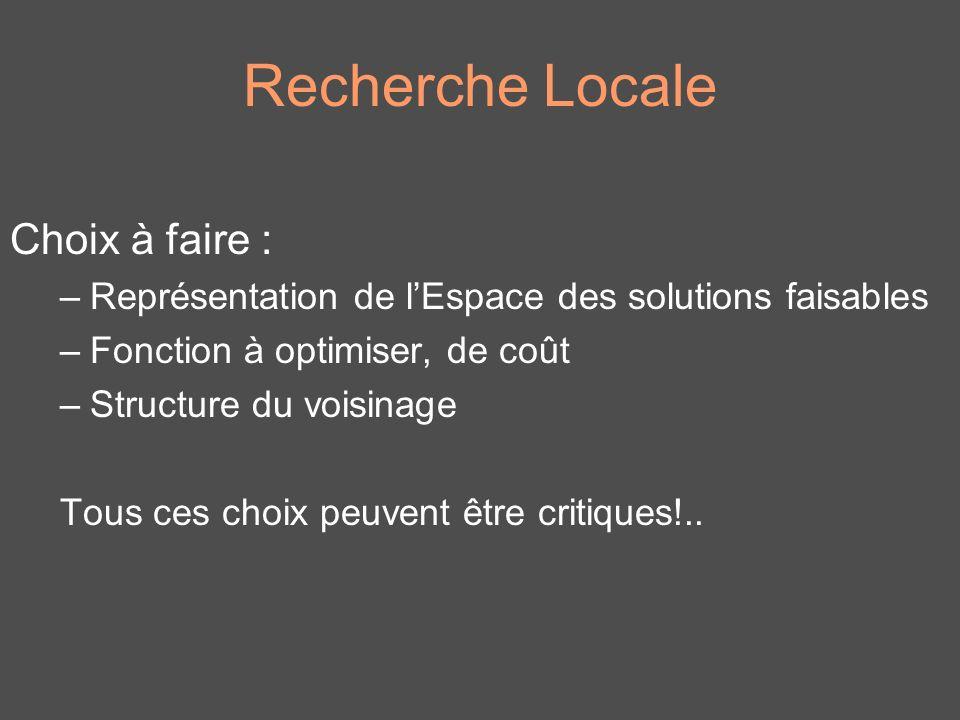 Recherche Locale Choix à faire :