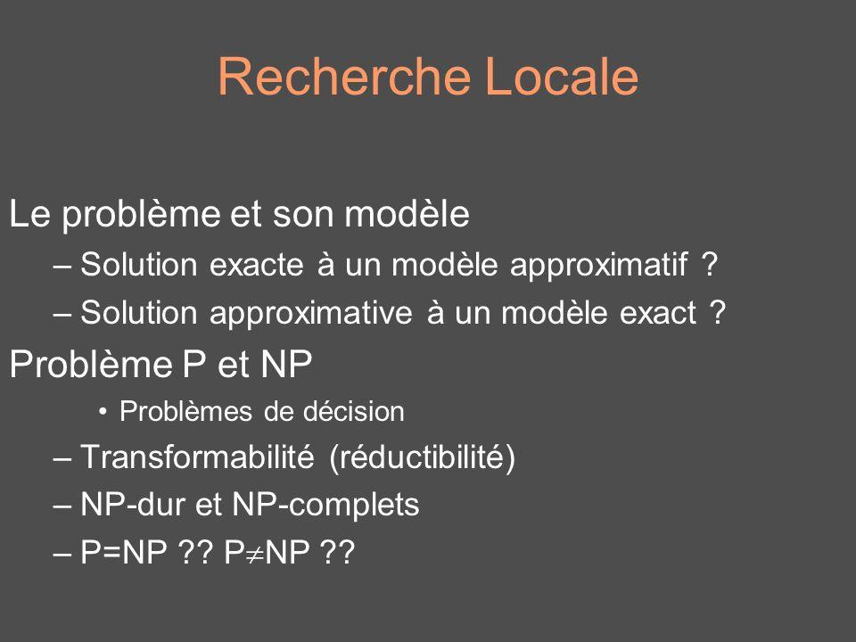 Recherche Locale Le problème et son modèle Problème P et NP