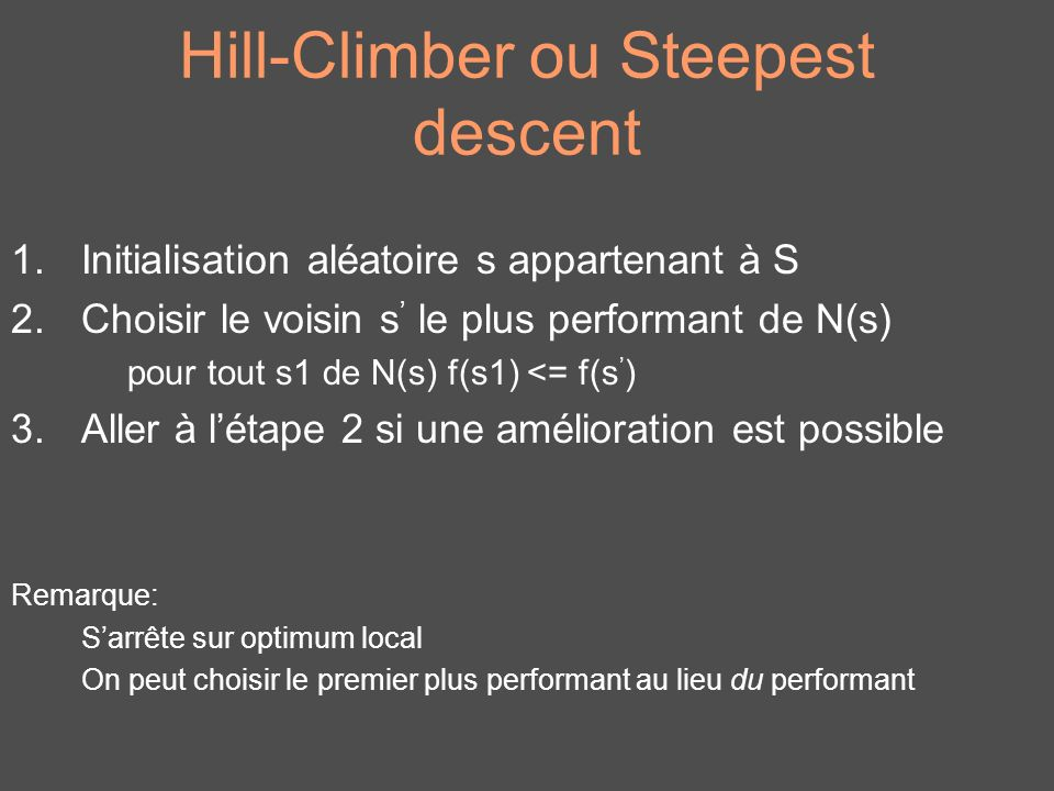 Hill-Climber ou Steepest descent