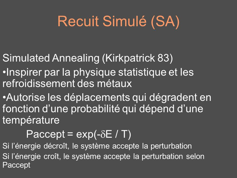 Recuit Simulé (SA) Simulated Annealing (Kirkpatrick 83)