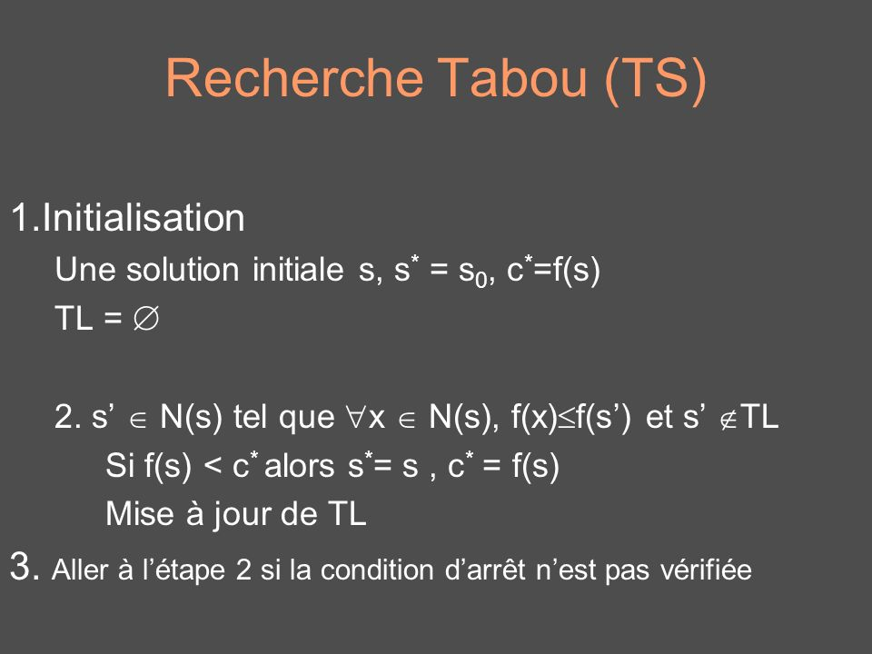 Recherche Tabou (TS) 1.Initialisation