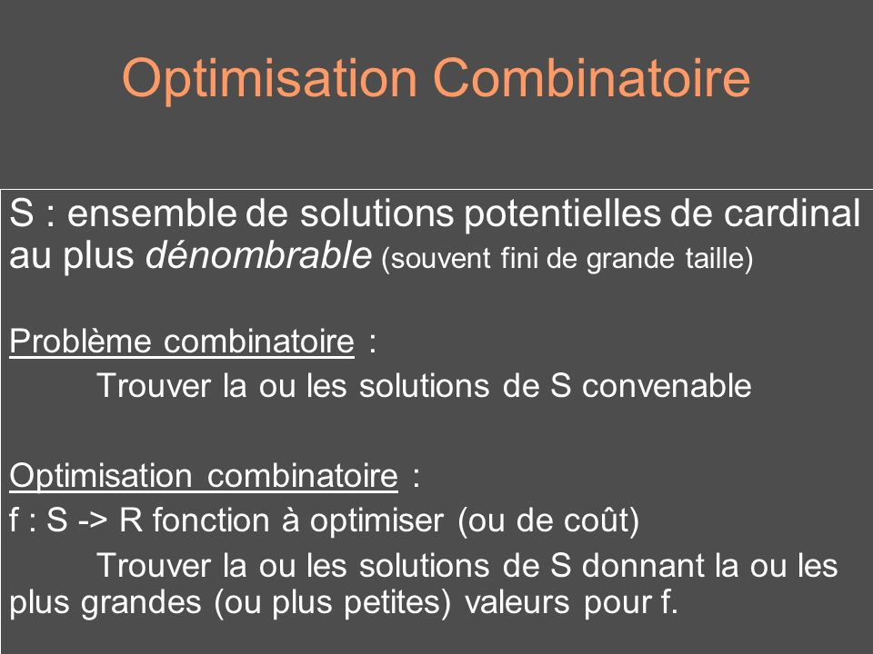 Optimisation Combinatoire