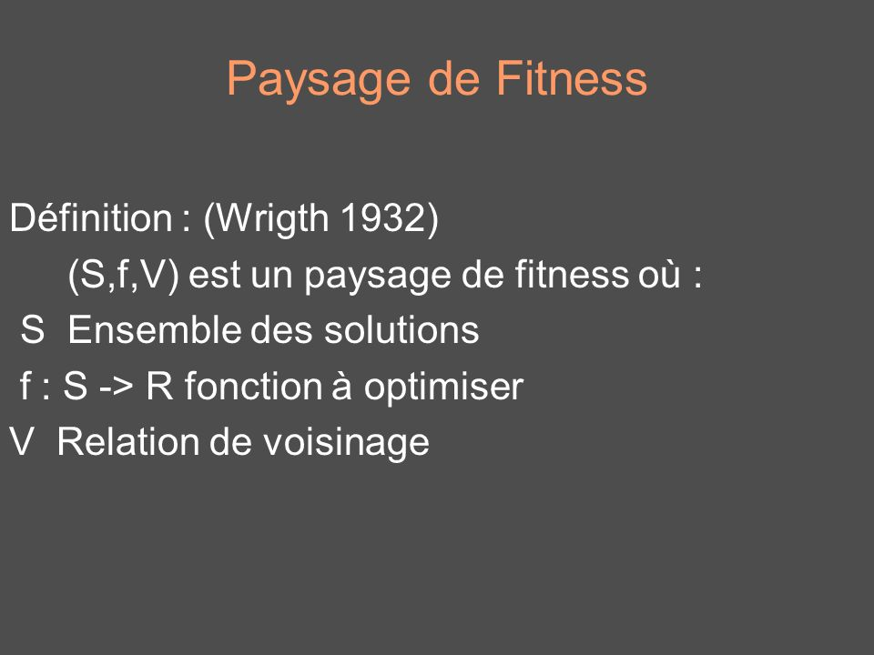 Paysage de Fitness Définition : (Wrigth 1932)