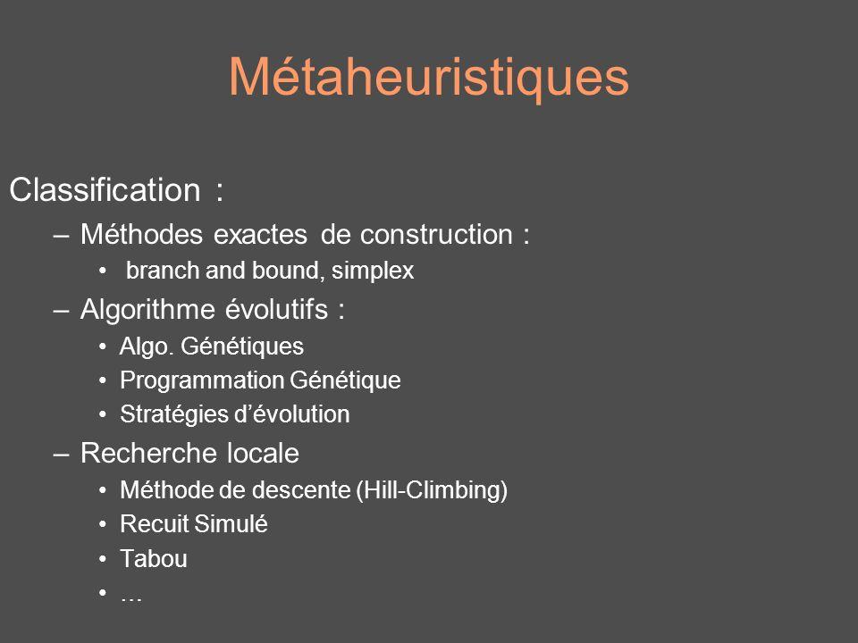 Métaheuristiques Classification : Méthodes exactes de construction :