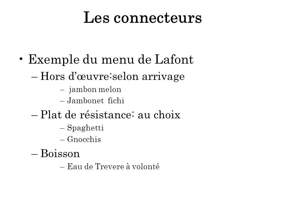 Les connecteurs Exemple du menu de Lafont Hors d'œuvre:selon arrivage