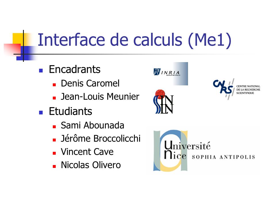 Interface de calculs (Me1)