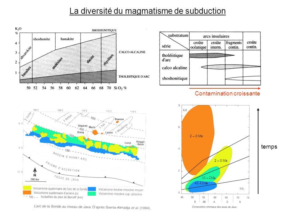 La diversité du magmatisme de subduction