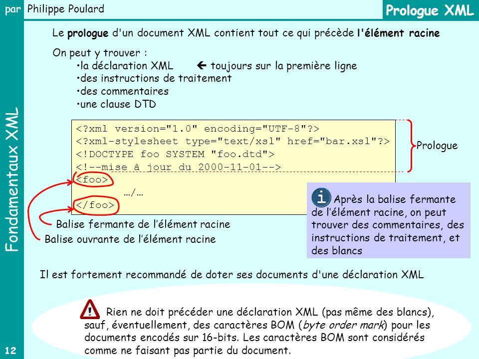 Prologue XML Le prologue d un document XML contient tout ce qui précède l élément racine. On peut y trouver :