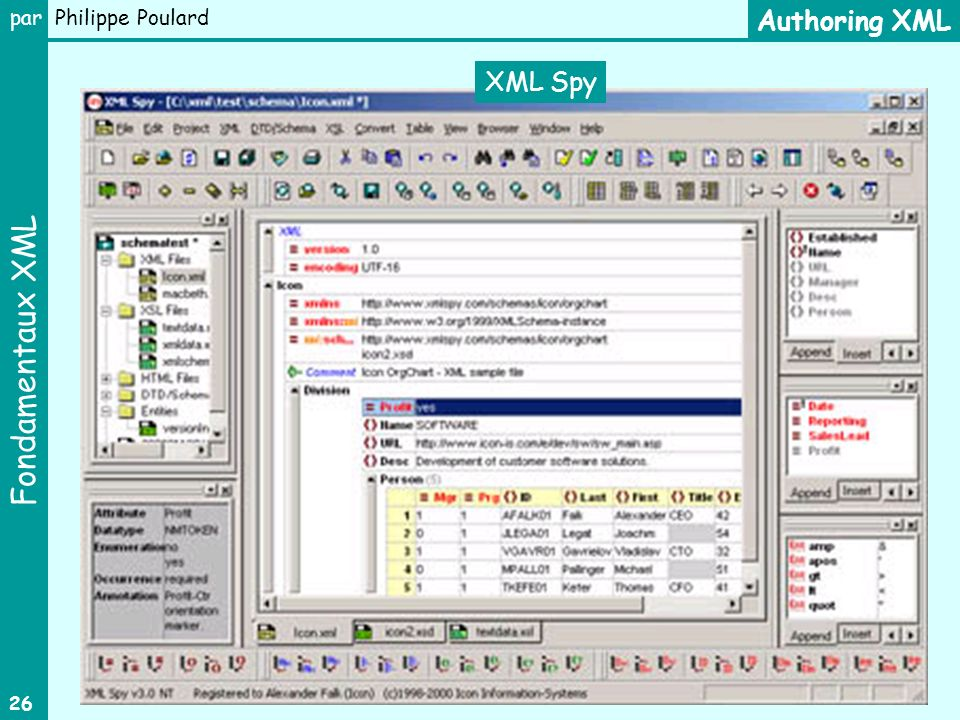 Authoring XML XML Spy