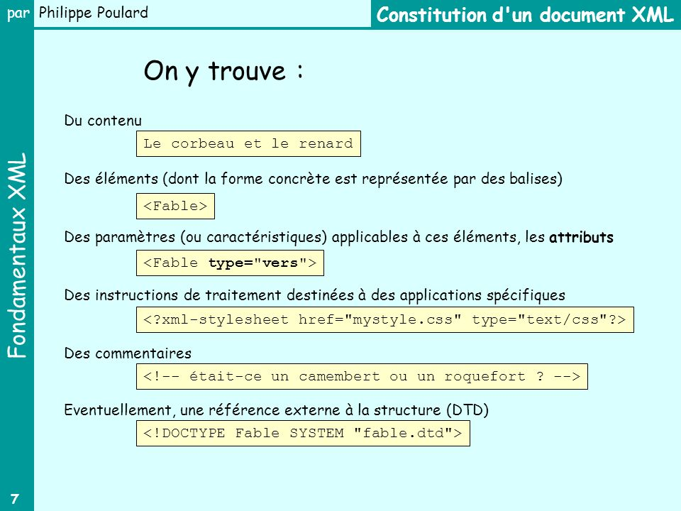 On y trouve : Constitution d un document XML Du contenu