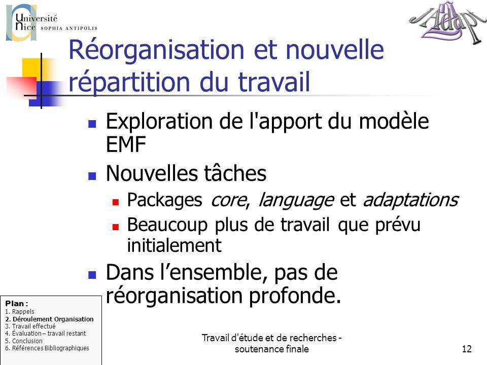 Réorganisation et nouvelle répartition du travail