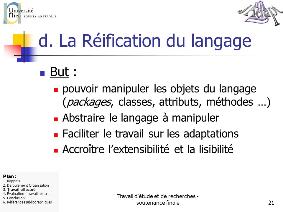 d. La Réification du langage