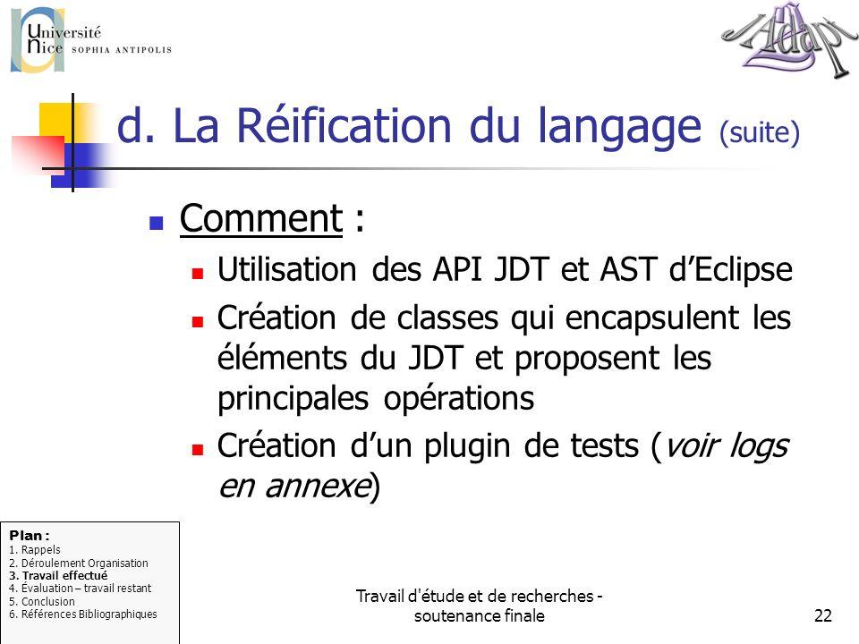 d. La Réification du langage (suite)