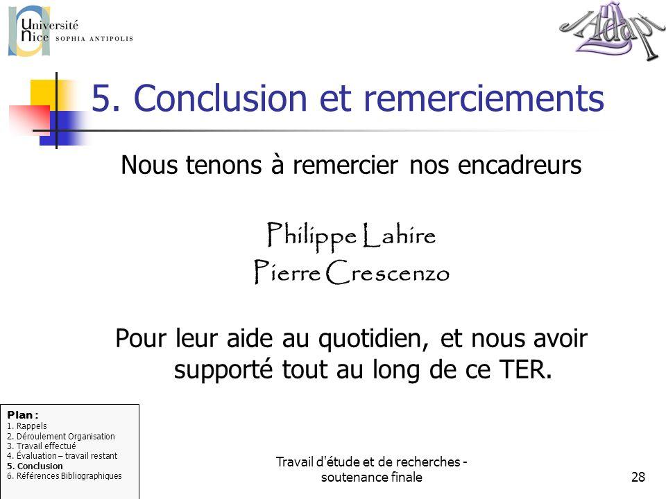 5. Conclusion et remerciements