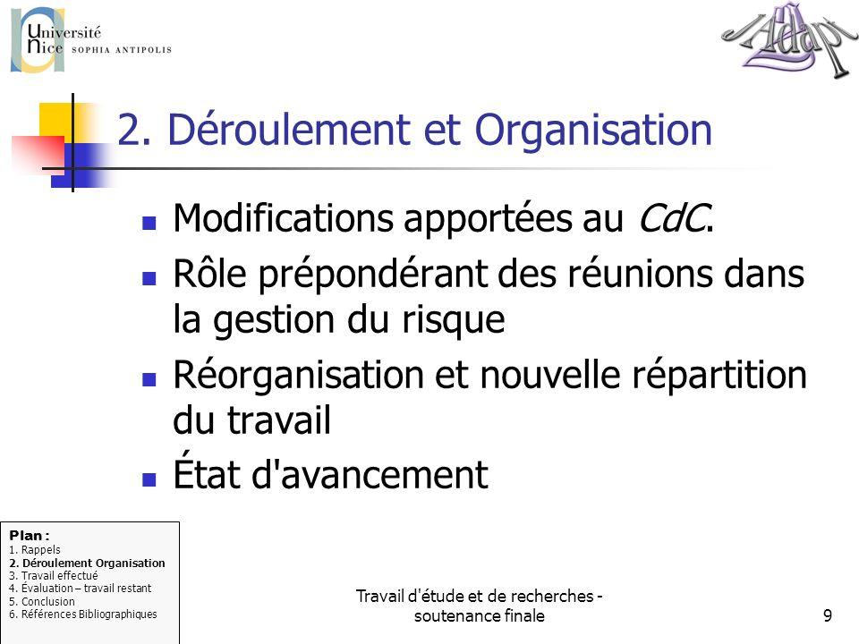 2. Déroulement et Organisation